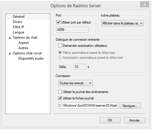 Radmin Server Options